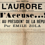 The famous open letter from Emile Zola on the front page from L'Aurore in 1898.