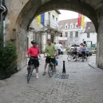 Arriving in the medieval centre of Semur-en-Auxois