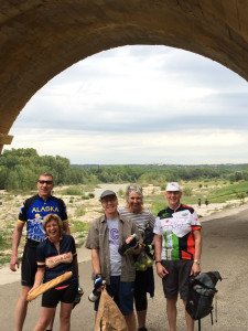 A jolly gathering beneath the Pont du Gard.