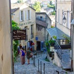 Steep, cobbled streets in St Emilion.