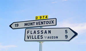 Sign pointing to Mont Ventoux in Provence - a famous climb in the Tour de France - on the D974