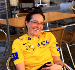Laura on a Chain Gang Cycling Holiday in a yellow jersey